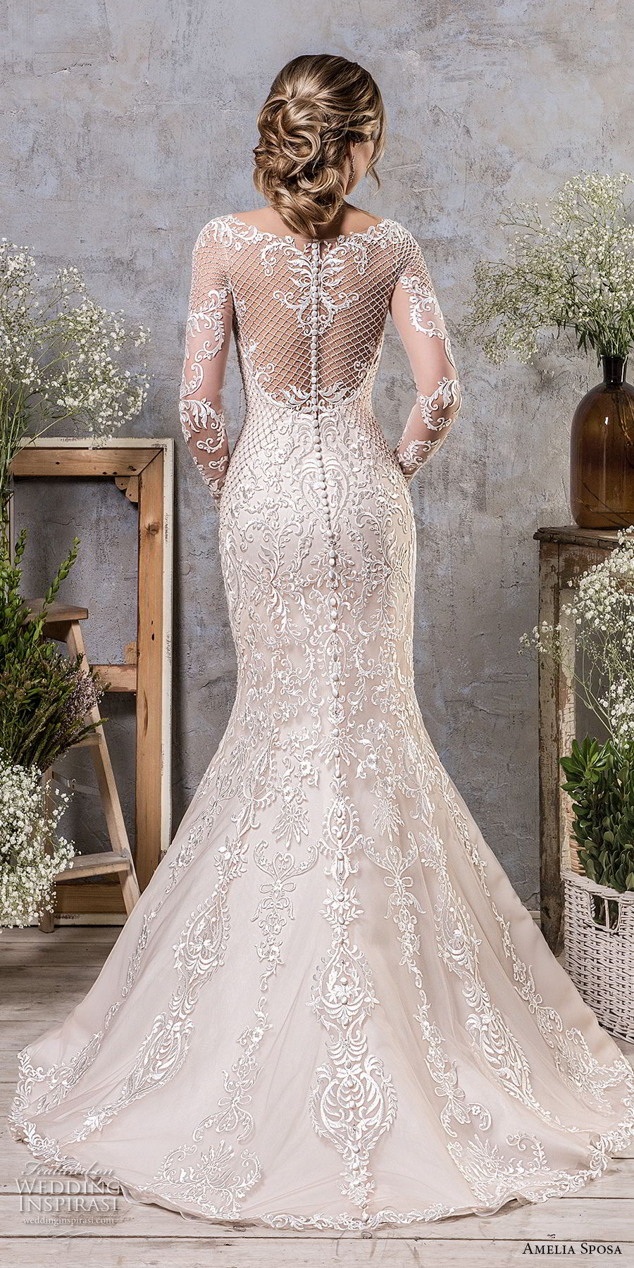 amelia sposa fall 2018 bridal long sleeves illusion bateau sweetheart neckline full embellishment elegant mermaid wedding dress sheer lace back sweep train (19) bv