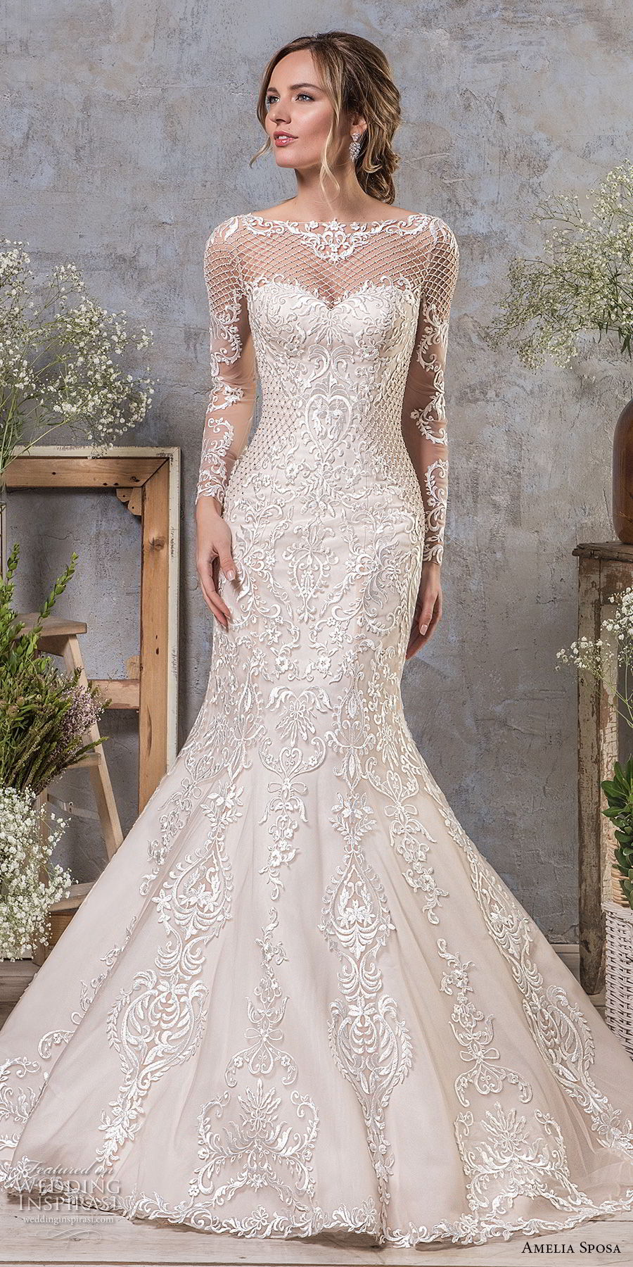 amelia sposa fall 2018 bridal long sleeves illusion bateau sweetheart neckline full embellishment elegant mermaid wedding dress sheer lace back sweep train (19) mv
