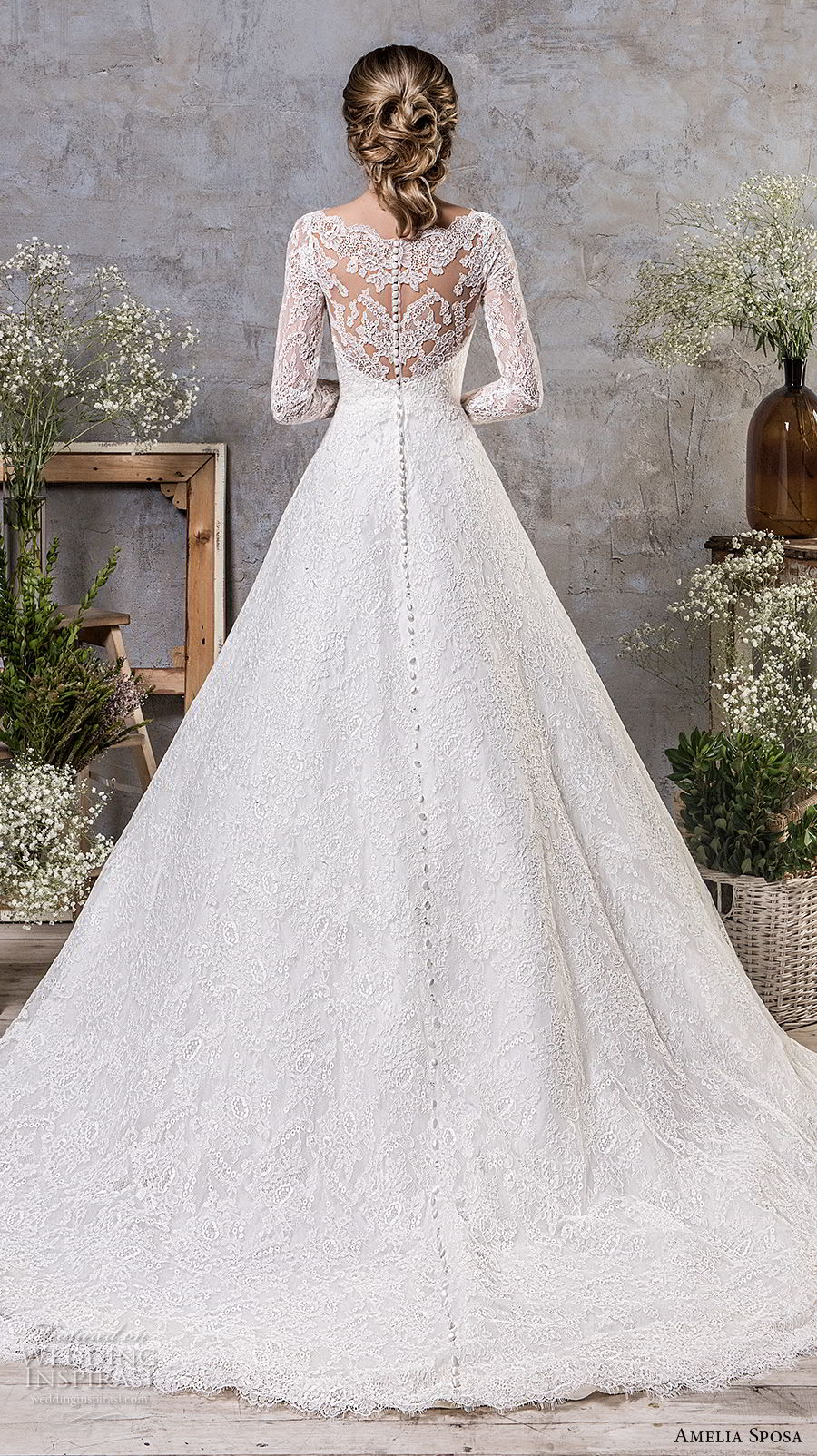 amelia sposa fall 2018 bridal long sleeves illusion jewel sweetheart neckline full embellishment elegant princess a line wedding dress lace back chapel train (17) bv
