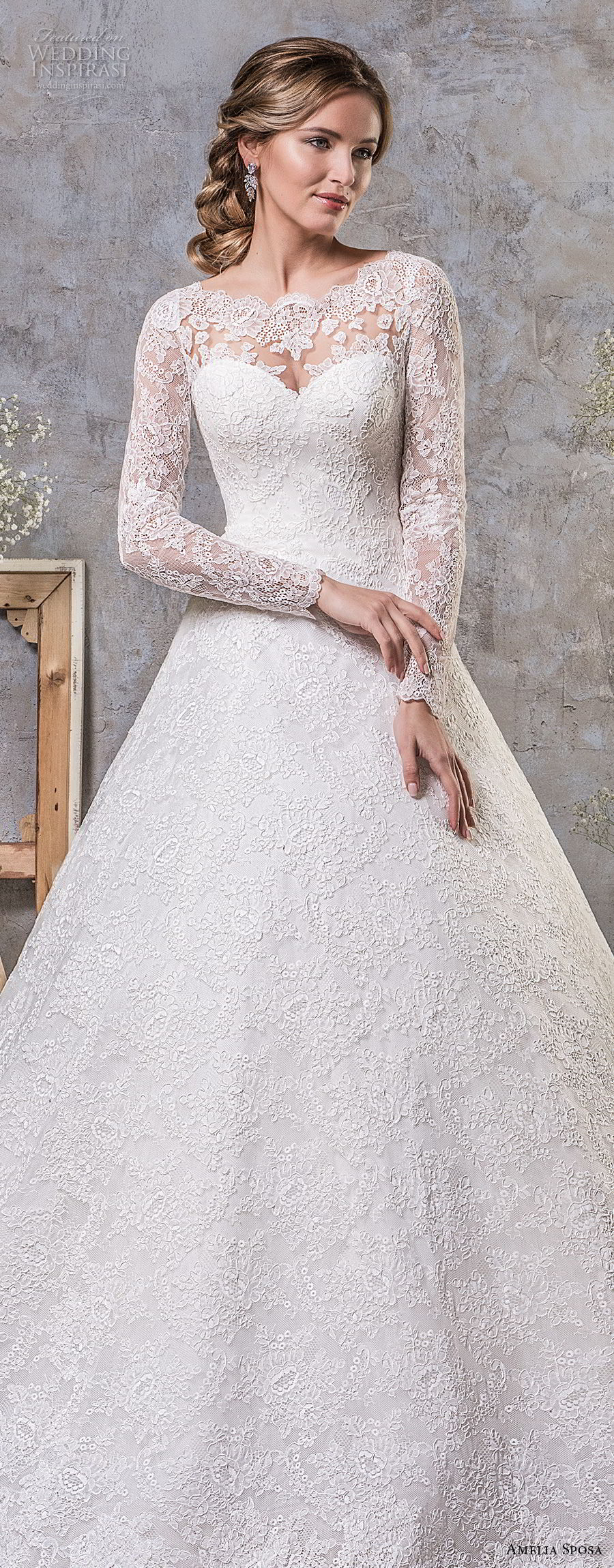 amelia sposa fall 2018 bridal long sleeves illusion jewel sweetheart neckline full embellishment elegant princess a line wedding dress lace back chapel train (17) mv