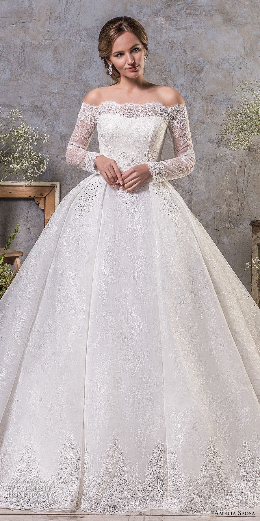 amelia sposa fall 2018 bridal long sleeves off the shoulder semi sweetheart neckline princess ball gown a line wedding dress lace back chapel train (18) mv