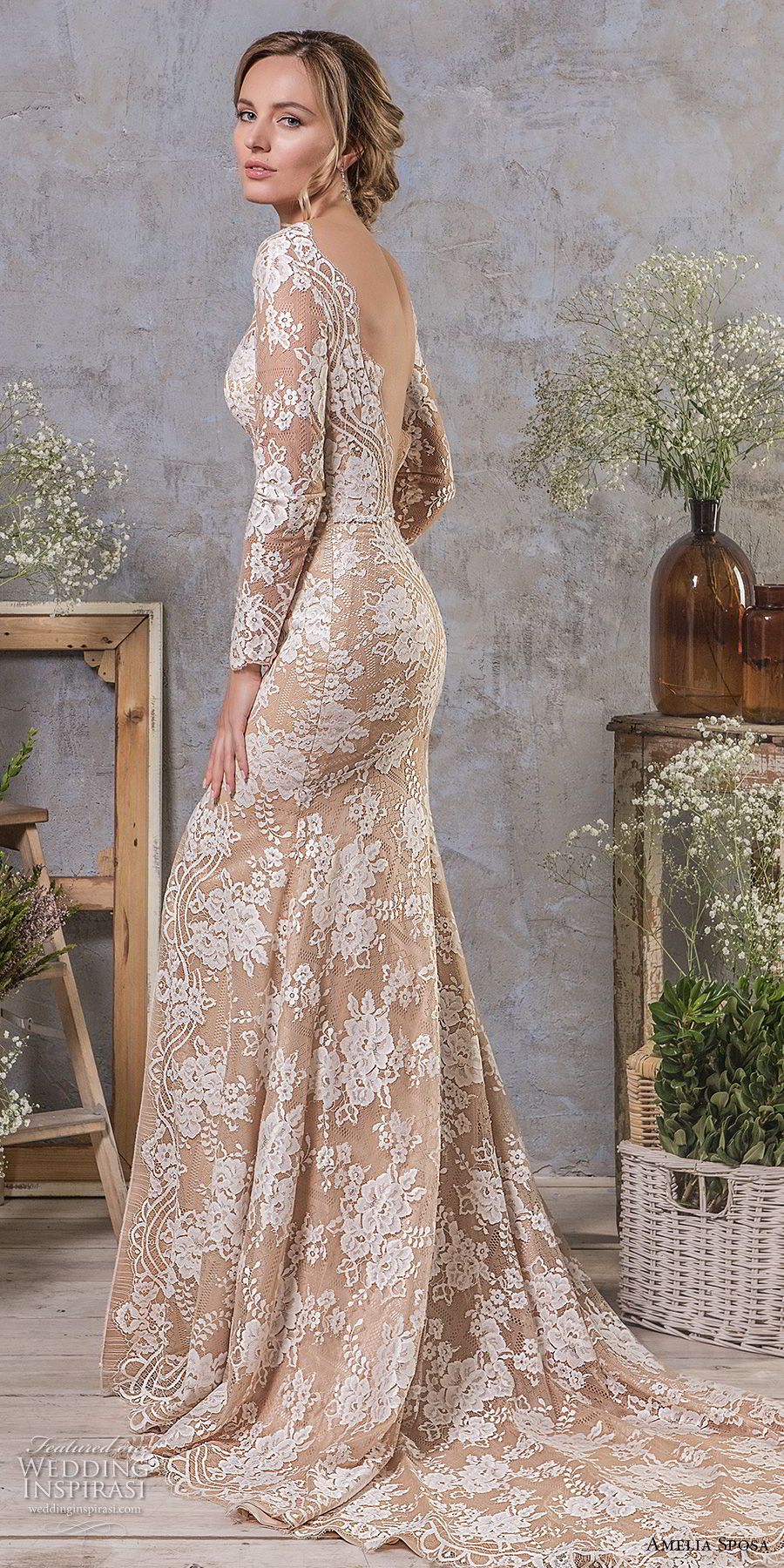 amelia sposa fall 2018 bridal long sleeves v neck full embellishment high slit elegant trumpet wedding dress low open v back chapel train (12) sdv