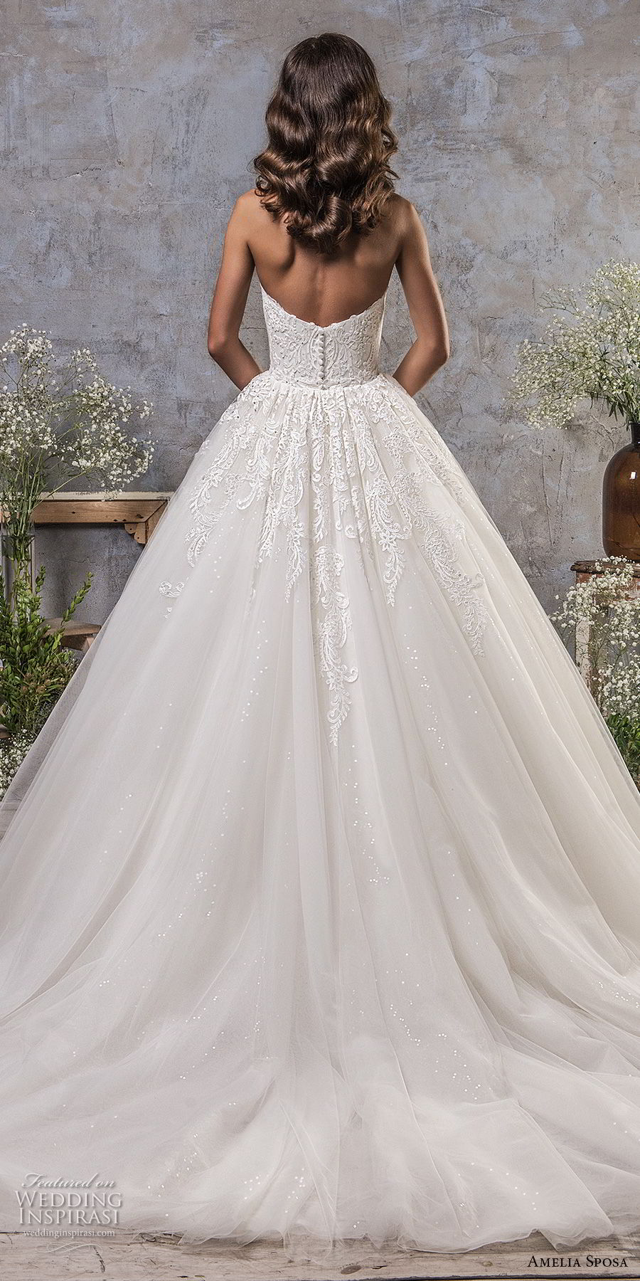 amelia sposa fall 2018 bridal off the shoulder sweetheart neckline heavily embellished bodice romantic princess ball gown a line wedding dress chapel train (1) bv