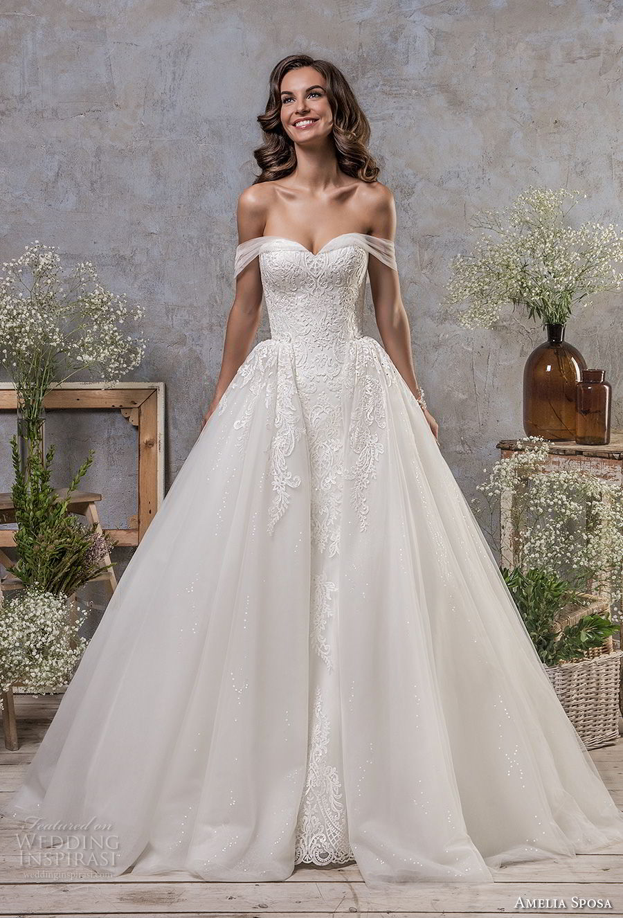amelia sposa fall 2018 bridal off the shoulder sweetheart neckline heavily embellished bodice romantic princess ball gown a line wedding dress chapel train (1) mv