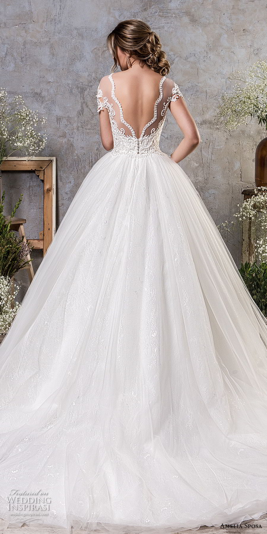 amelia sposa fall 2018 bridal short sleeves illusion bateau sweeetheart neckline heavily embellished bodice ball gown a line wedding dress open v back chapel train (14) bv
