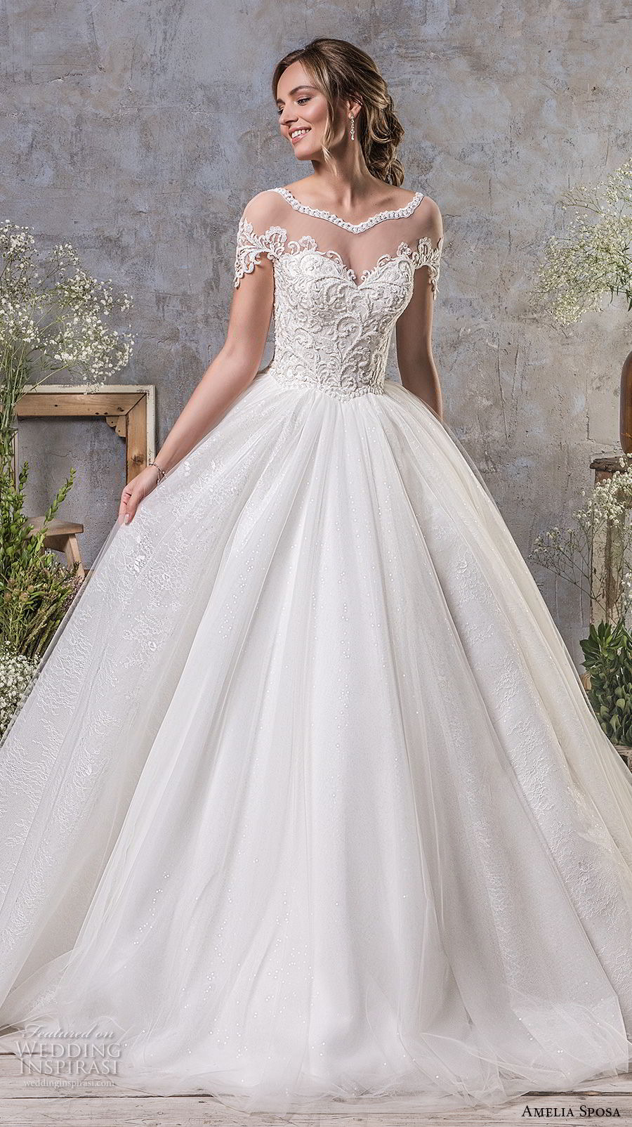 amelia sposa fall 2018 bridal short sleeves illusion bateau sweeetheart neckline heavily embellished bodice ball gown a line wedding dress open v back chapel train (14) mv