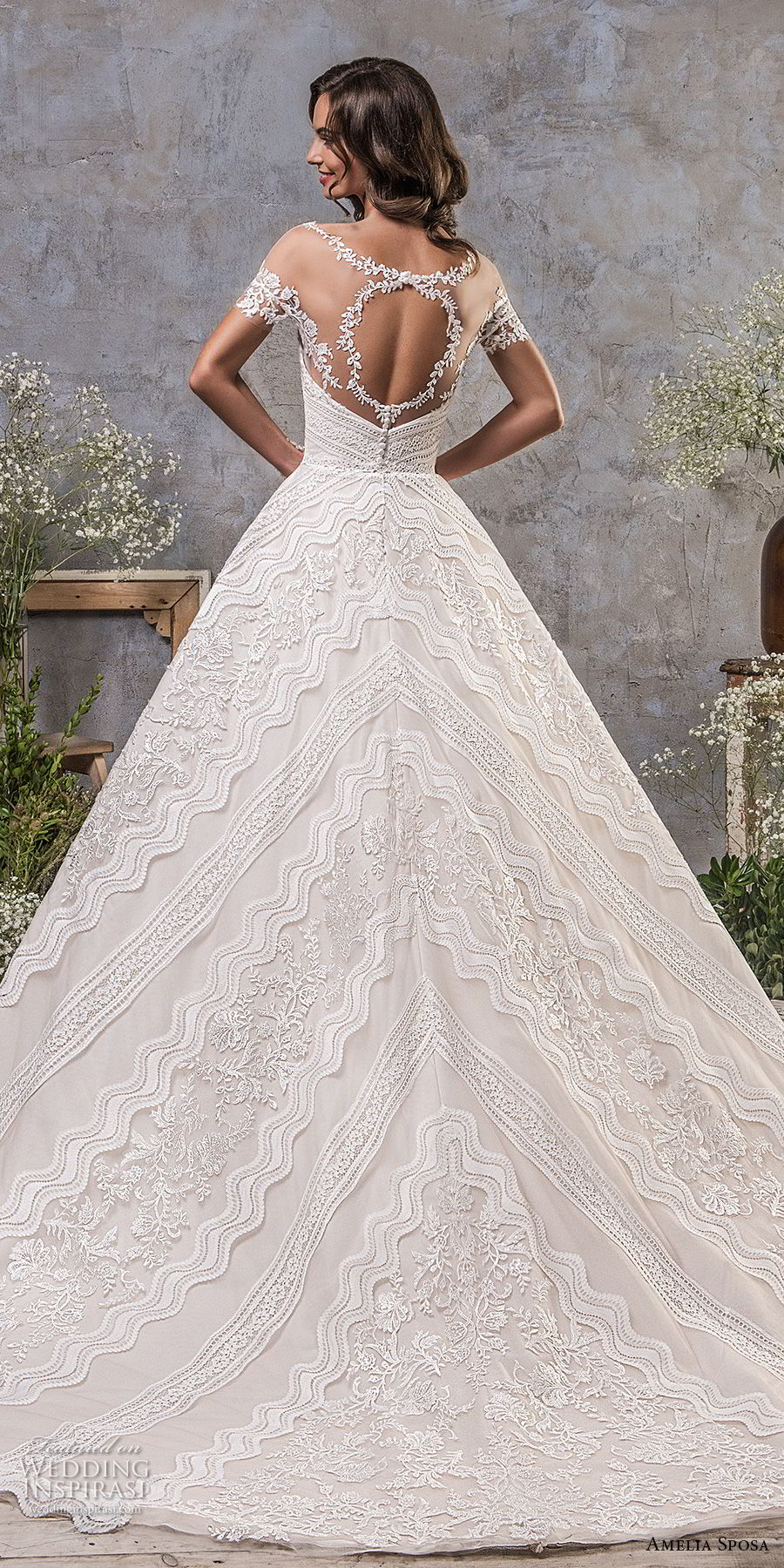 amelia sposa fall 2018 bridal short sleeves illusion boat neck semi sweetheart neckline full embellishment elegant trumpet wedding dress a line overskirt keyhole back sweep train (3) bv