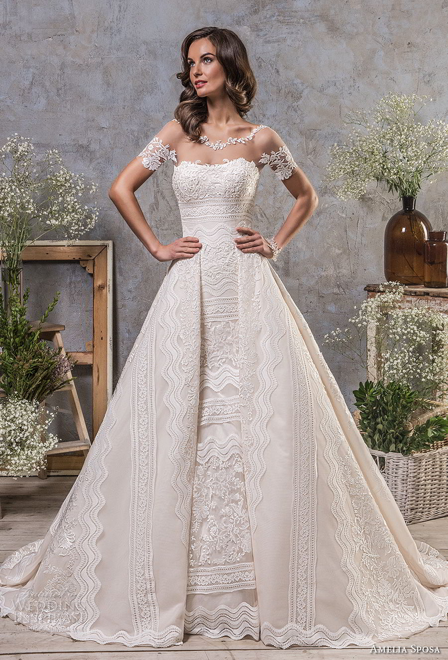 amelia sposa fall 2018 bridal short sleeves illusion boat neck semi sweetheart neckline full embellishment elegant trumpet wedding dress a line overskirt keyhole back sweep train (3) mv