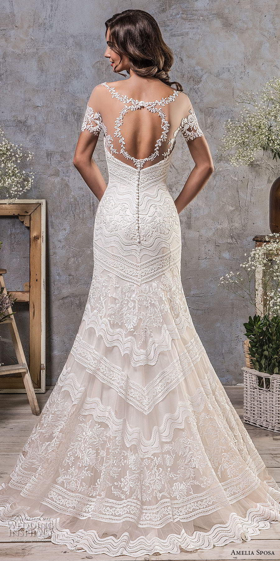 amelia sposa fall 2018 bridal short sleeves illusion boat neck semi sweetheart neckline full embellishment elegant trumpet wedding dress keyhole back sweep train (3) bv