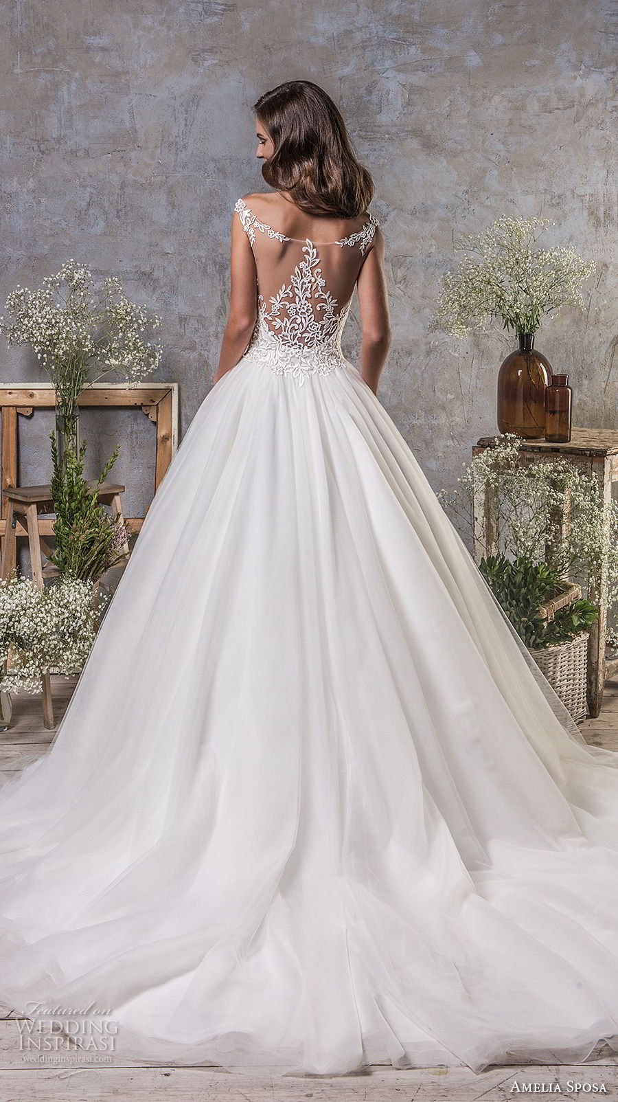 amelia sposa fall 2018 bridal sleeveless illusion bateau sweetheart neckline heavily embellished bodice elegant a line wedding dress sheer lace back chapel train (13) bv