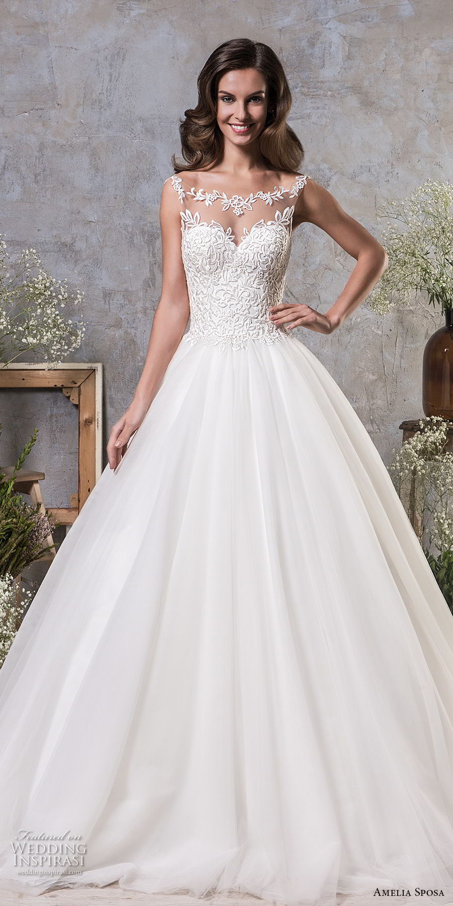amelia sposa fall 2018 bridal sleeveless illusion bateau sweetheart neckline heavily embellished bodice elegant a line wedding dress sheer lace back chapel train (13) mv