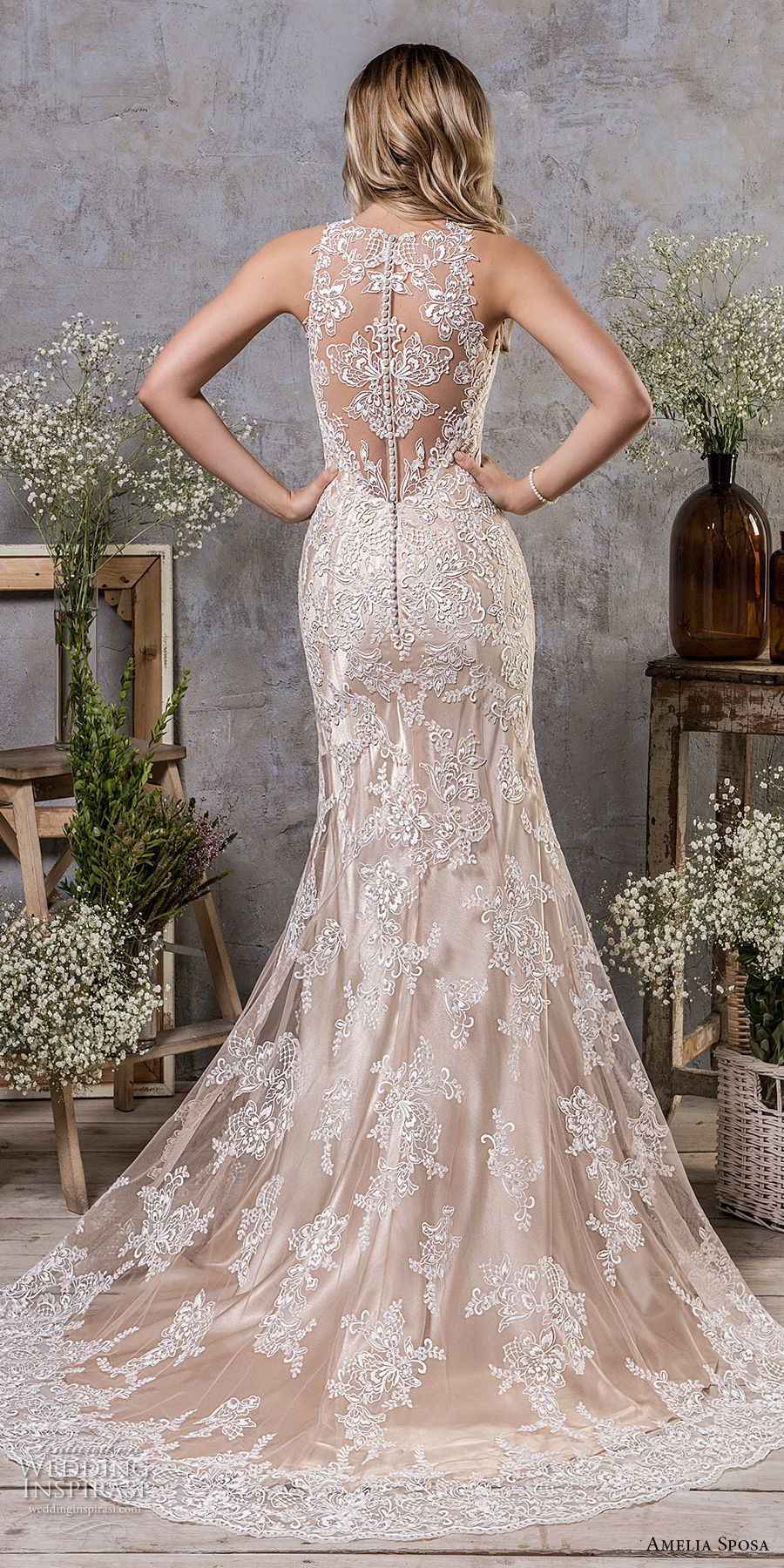 amelia sposa fall 2018 bridal sleeveless illusion jewel sweetheart neckline full embellishment elegant champagne color trumpet wedding dress covered lace back sweep train (2) bv