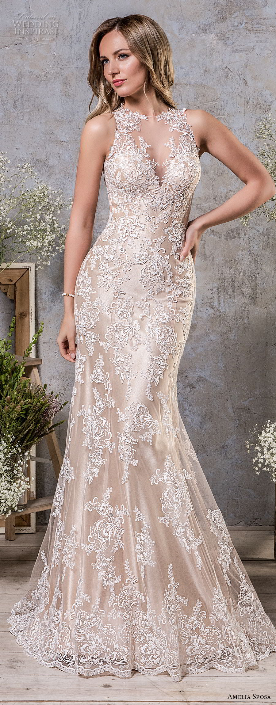 amelia sposa fall 2018 bridal sleeveless illusion jewel sweetheart neckline full embellishment elegant champagne color trumpet wedding dress covered lace back sweep train (2) mv