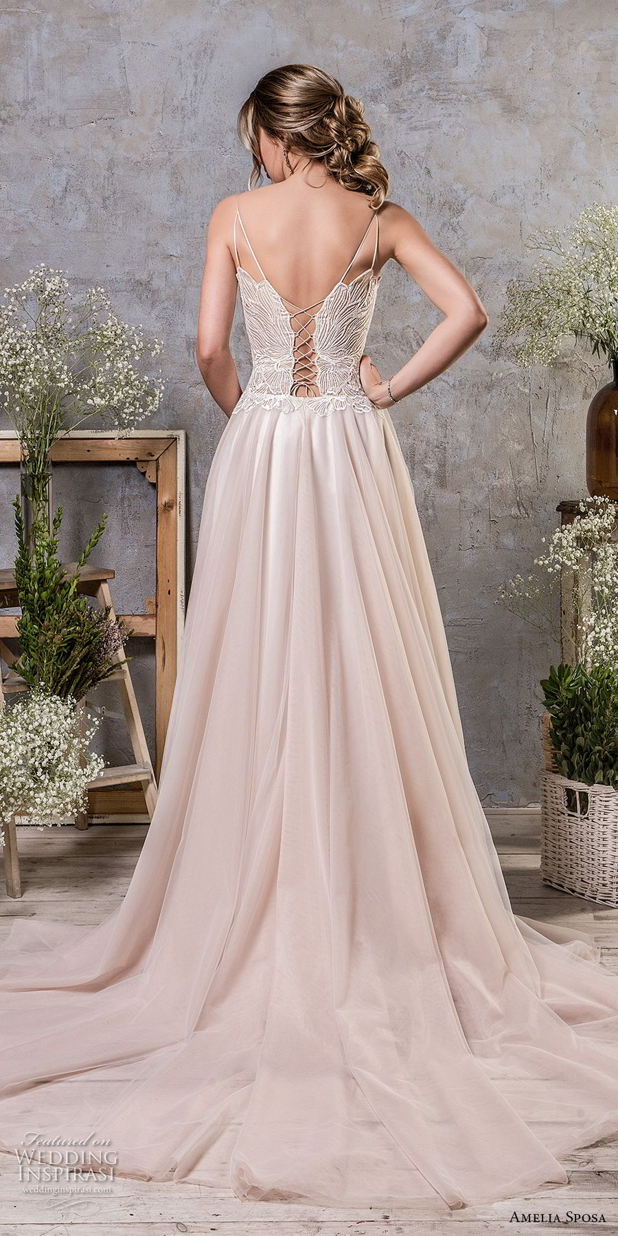 amelia sposa fall 2018 bridal spaghetti strap deep sweetheart neckline heavily embellished bodice romantic blush a line wedding dress corset back chapel train (15) bv