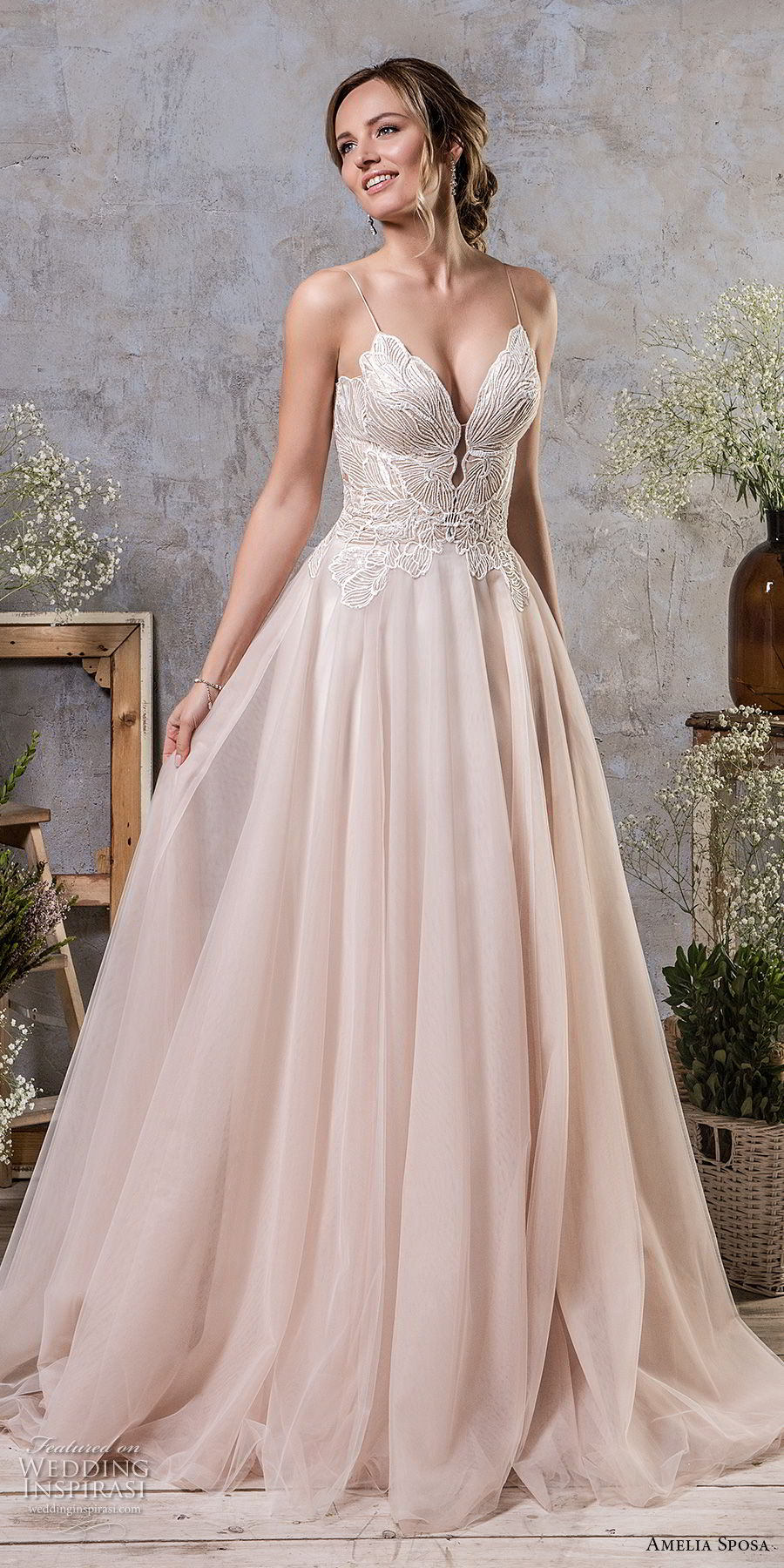 amelia sposa fall 2018 bridal spaghetti strap deep sweetheart neckline heavily embellished bodice romantic blush a line wedding dress corset back chapel train (15) mv