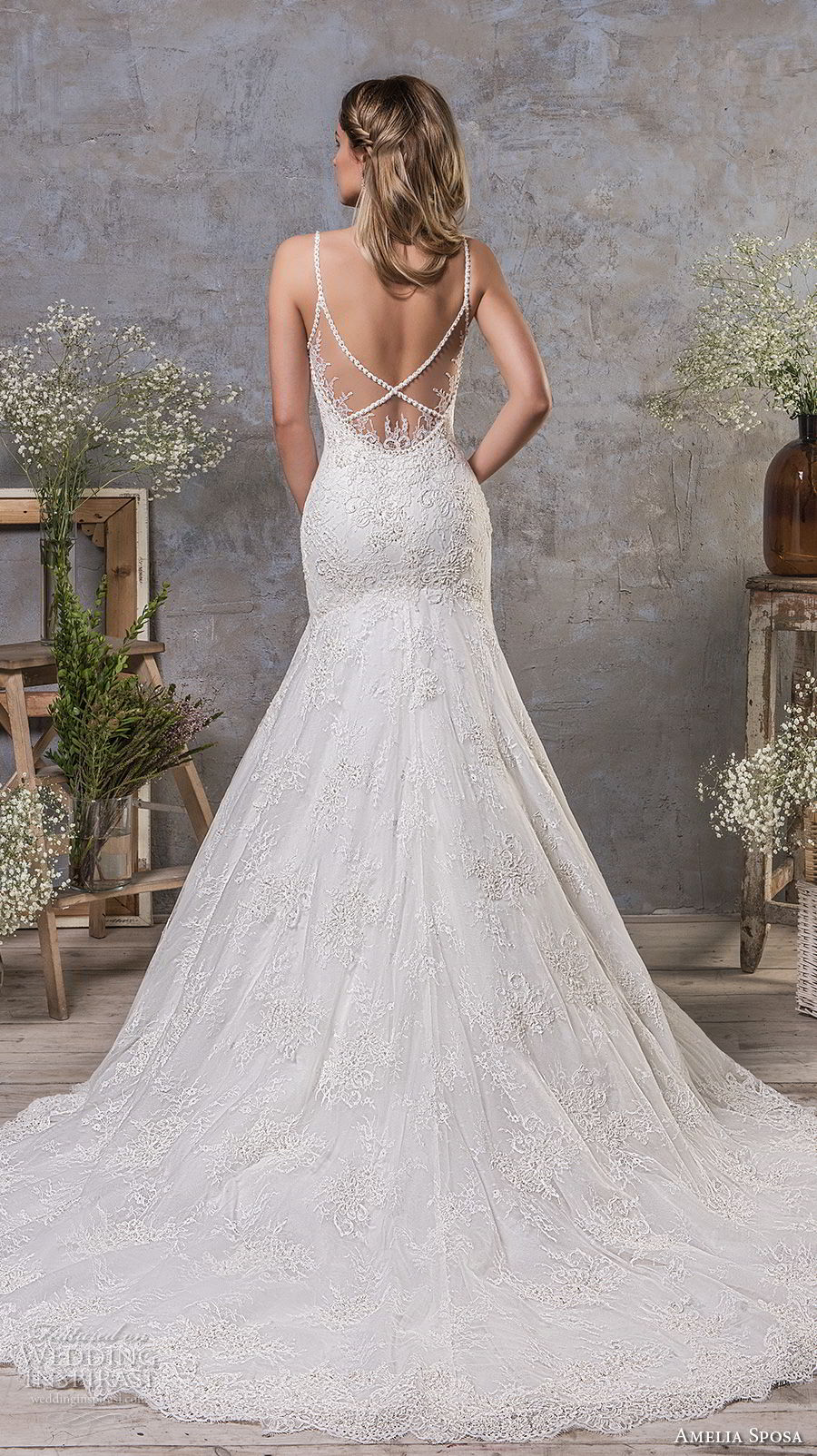 amelia sposa fall 2018 bridal spaghetti strap sweetheart neckline heavily embellished bodice drop waist a line wedding dress open strap back chapel train (7) bv