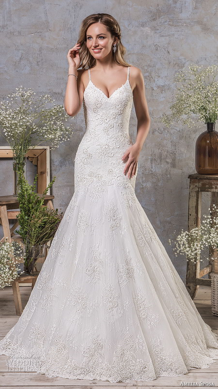 amelia sposa fall 2018 bridal spaghetti strap sweetheart neckline heavily embellished bodice drop waist a line wedding dress open strap back chapel train (7) mv
