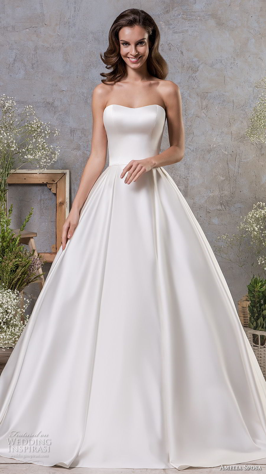 amelia sposa fall 2018 bridal strapless semi sweetheart neckline clean simple bodice princess ball gown a line wedding dress sweep train (10) mv