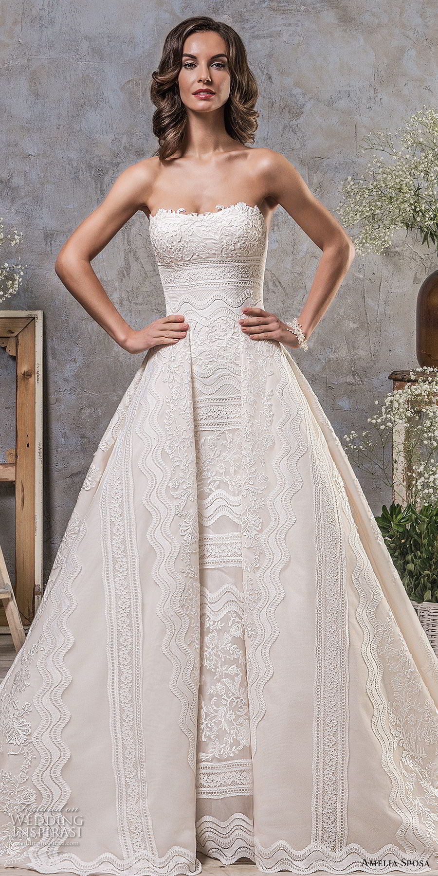 amelia sposa fall 2018 bridal strapless semi sweetheart neckline full embellishment elegant trumpet wedding dress a line overskirt keyhole back sweep train (3) mv