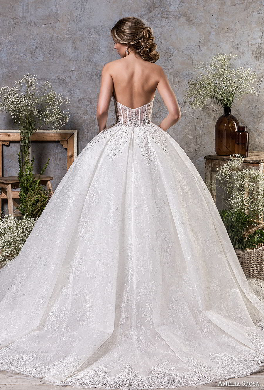 amelia sposa fall 2018 bridal strapless semi sweetheart neckline full embellishment romantic princess ball gown a line wedding dress chapel train (18) bv
