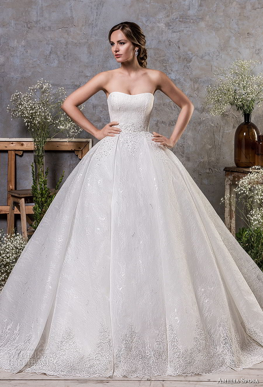 amelia sposa fall 2018 bridal strapless semi sweetheart neckline full embellishment romantic princess ball gown a line wedding dress chapel train (18) mv