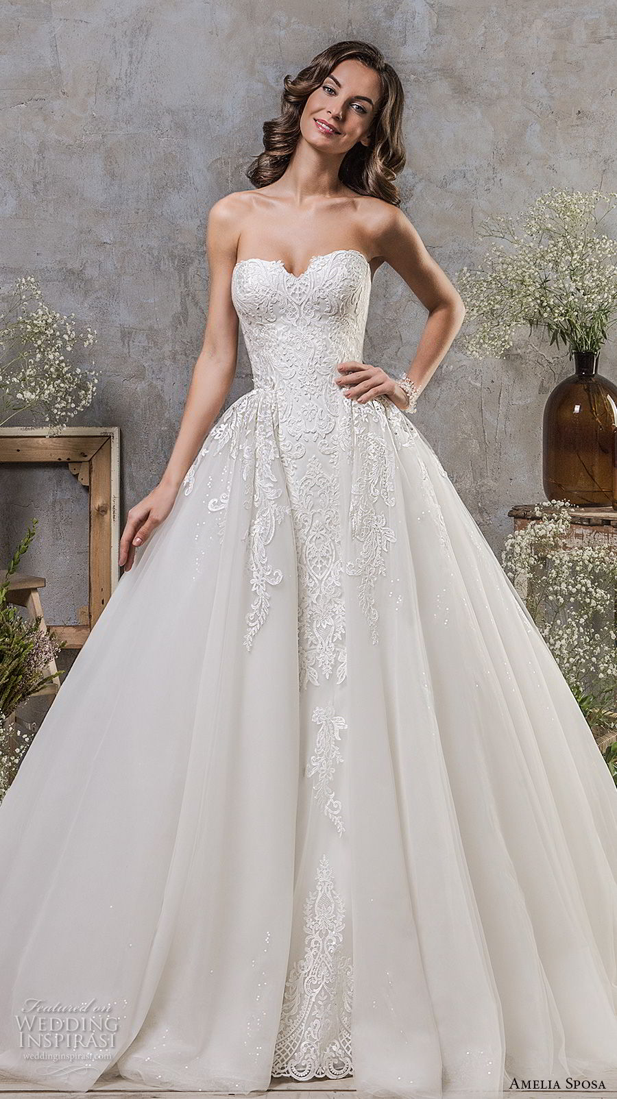 amelia sposa fall 2018 bridal strapless sweetheart neckline heavily embellished bodice romantic princess ball gown a line wedding dress chapel train (1) mv