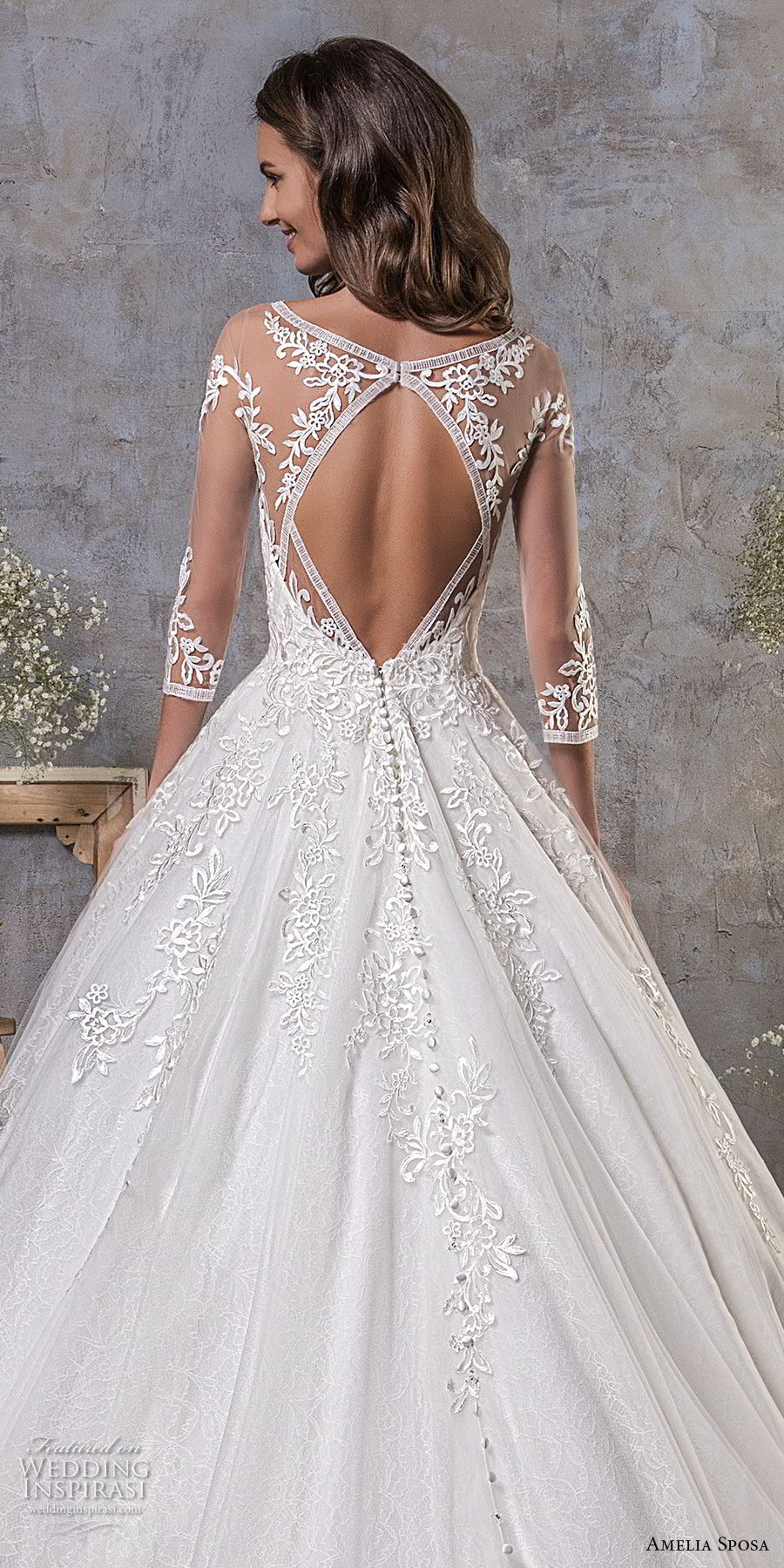 amelia sposa fall 2018 bridal three quarter sleeves illusion bateau semi sweetheart neckline heavily embellished bodice romantic a line wedding dress keyhole back chapel train (11) bv
