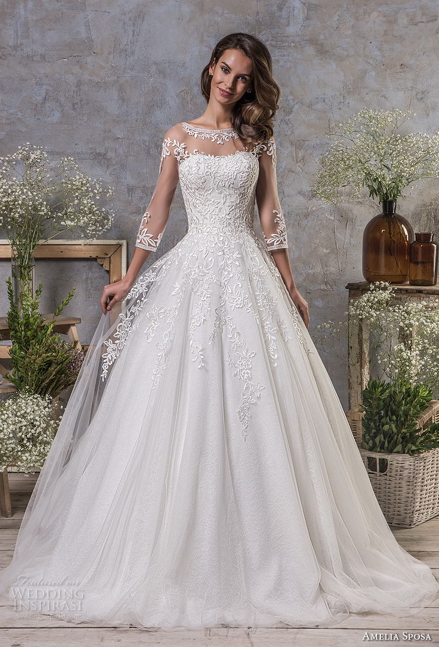 amelia sposa fall 2018 bridal three quarter sleeves illusion bateau semi sweetheart neckline heavily embellished bodice romantic a line wedding dress keyhole back chapel train (11) mv