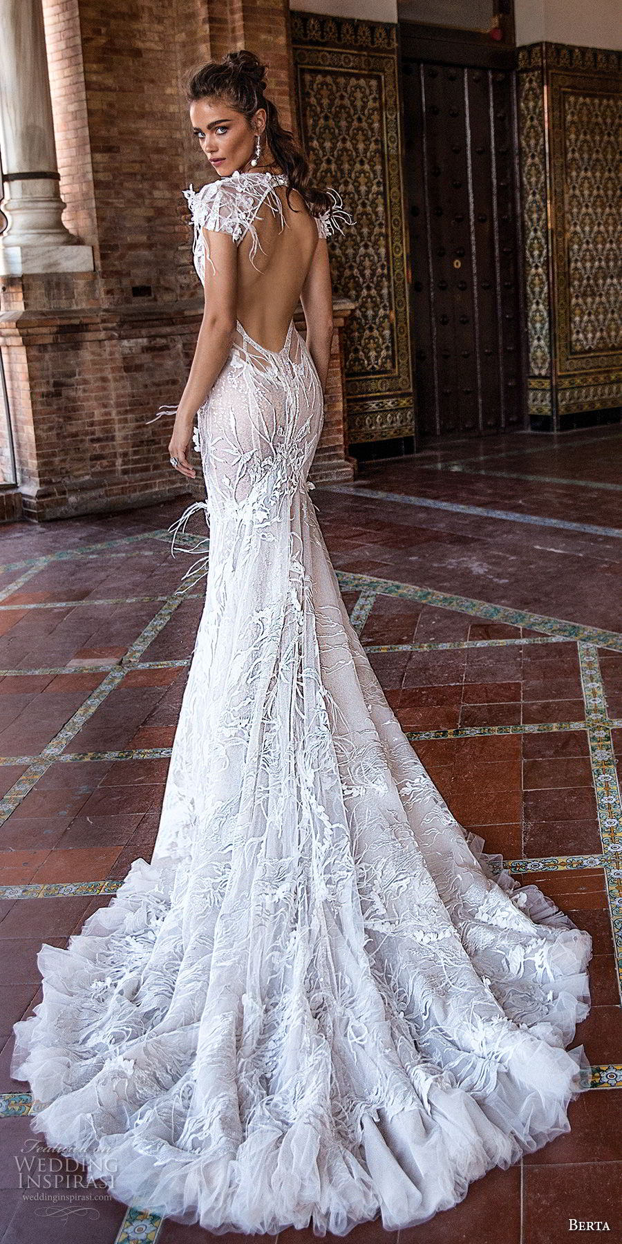 berta fall 2018 bridal cap sleeves deep plunging v neck full embellishment elegant fit and flare mermaid  wedding dress keyhole back chapel train (8) bv