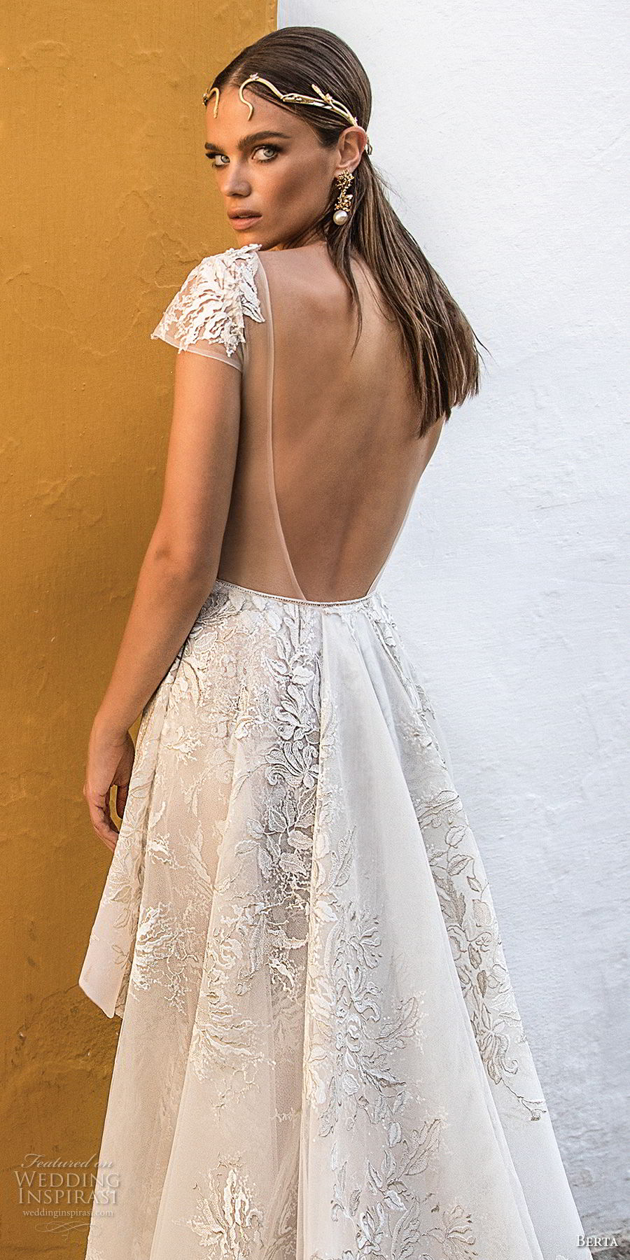 berta fall 2018 bridal cap sleeves deep plunging v neck full embellishment peplum elegant sexy sheath wedding dress open back chapel train (15) bv