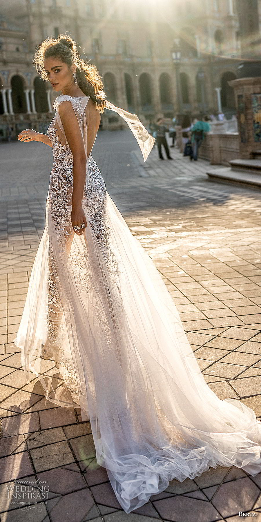 berta fall 2018 bridal cap sleeves deep v neck full embellishment elegant sexy soft a  line wedding dress open back chapel train (2) bv