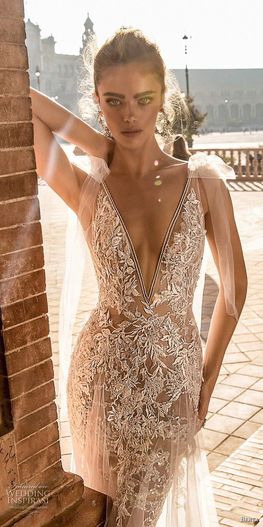 berta fall 2018 bridal cap sleeves deep v neck full embellishment elegant sexy soft a  line wedding dress open back chapel train (2) zv