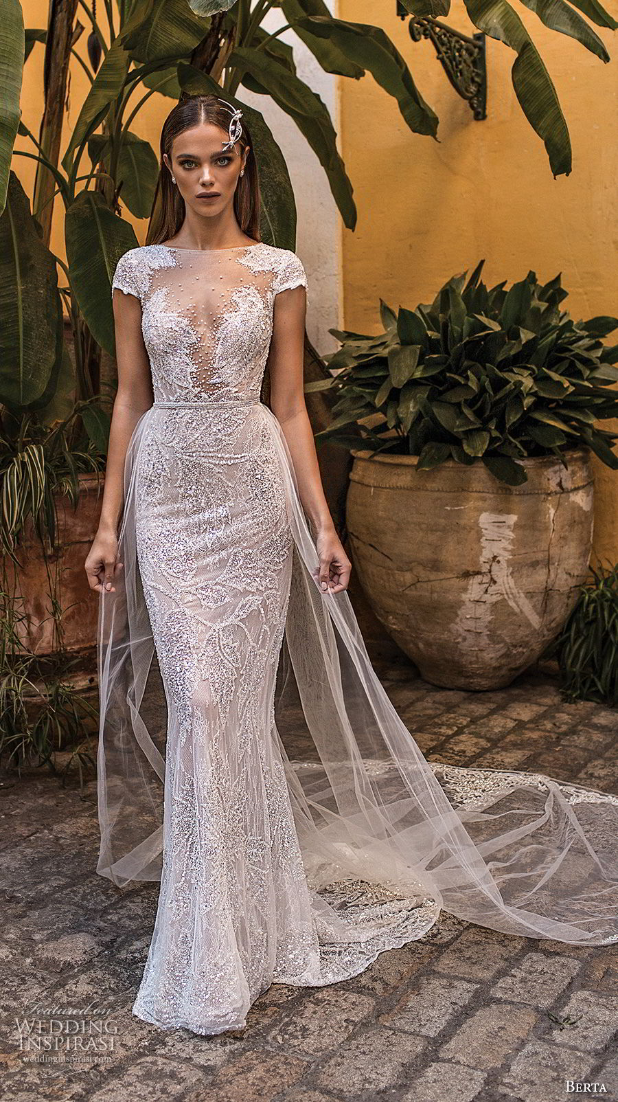 berta fall 2018 bridal cap sleeves illusion bateau sweetheart neckline full embellishment elegant fit and flare wedding dress keyhole back medium train (21) mv