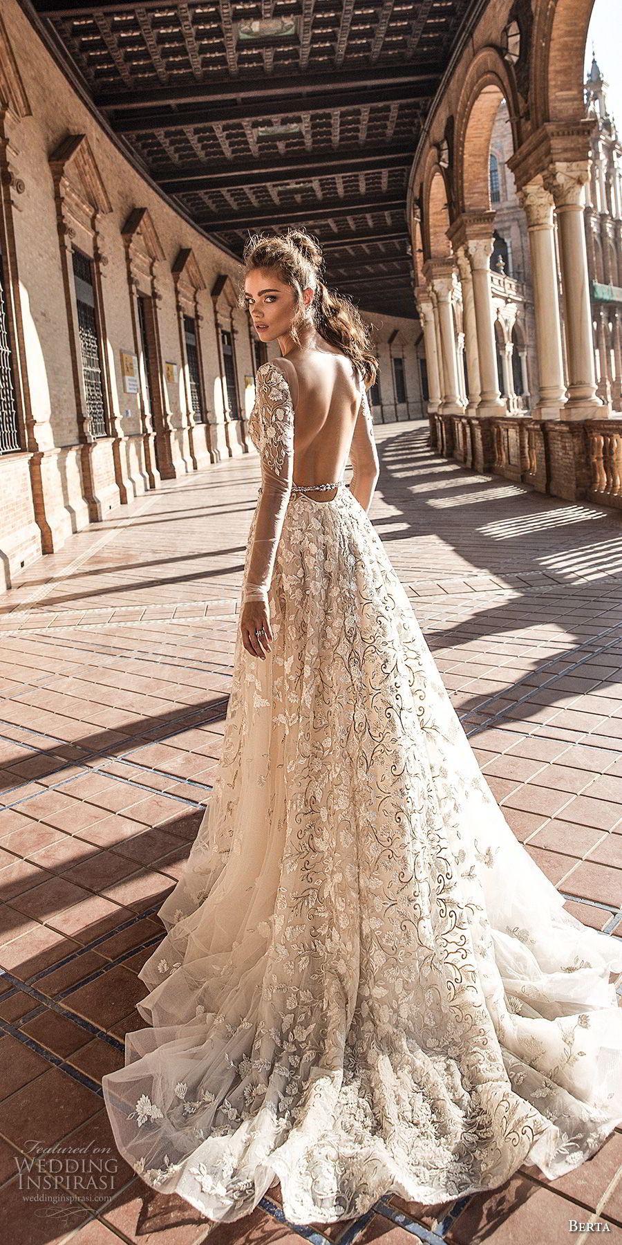 berta fall 2018 bridal long sleeves deep plunging v neck full embellishment romantic sexy a  line wedding dress open back chapel train (3) bv