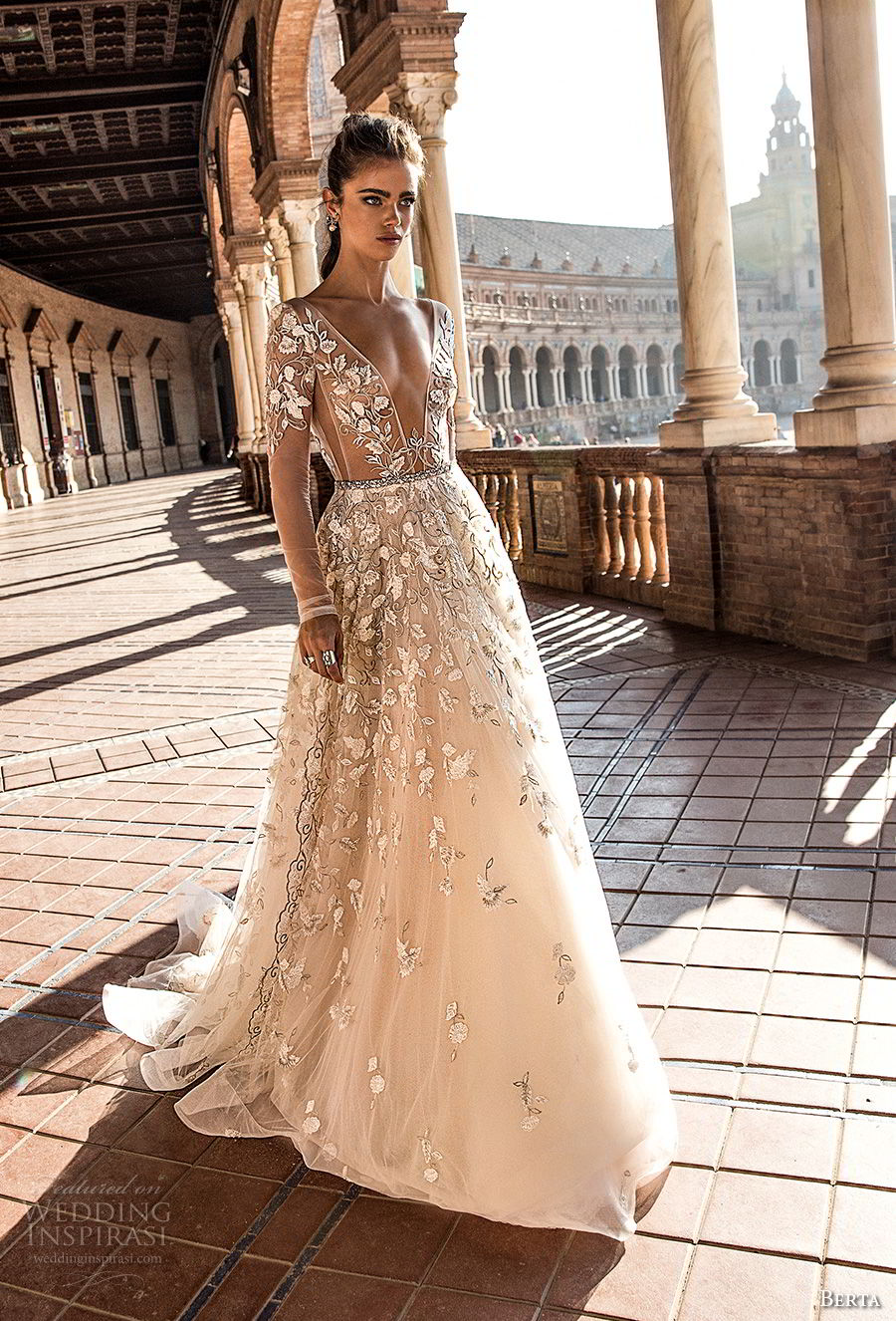 berta fall 2018 bridal long sleeves deep plunging v neck full embellishment romantic sexy a  line wedding dress open back chapel train (3) mv