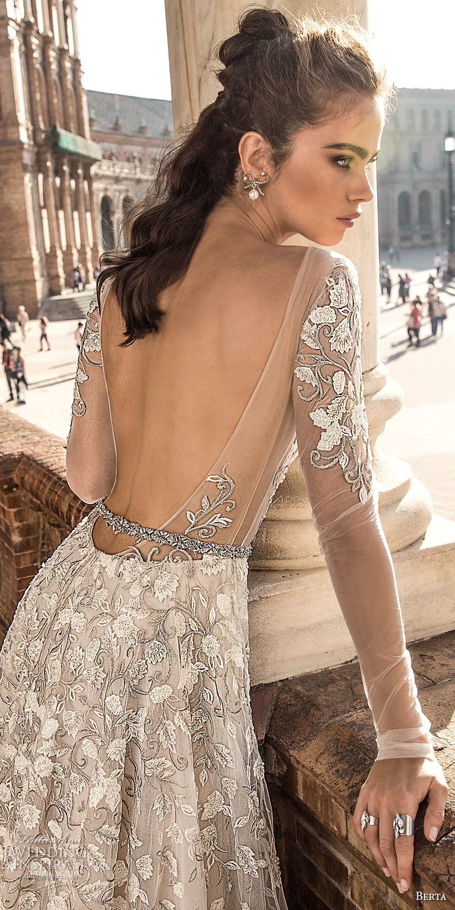 berta fall 2018 bridal long sleeves deep plunging v neck full embellishment romantic sexy a  line wedding dress open back chapel train (3) zbv