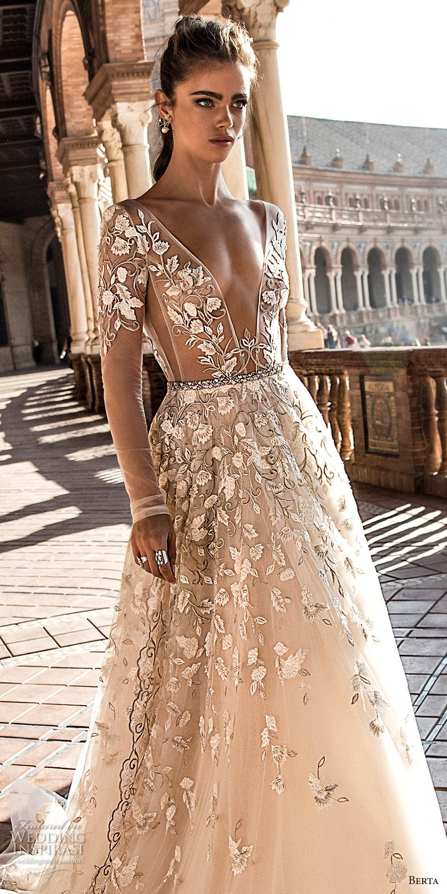 berta fall 2018 bridal long sleeves deep plunging v neck full embellishment romantic sexy a  line wedding dress open back chapel train (3) zv