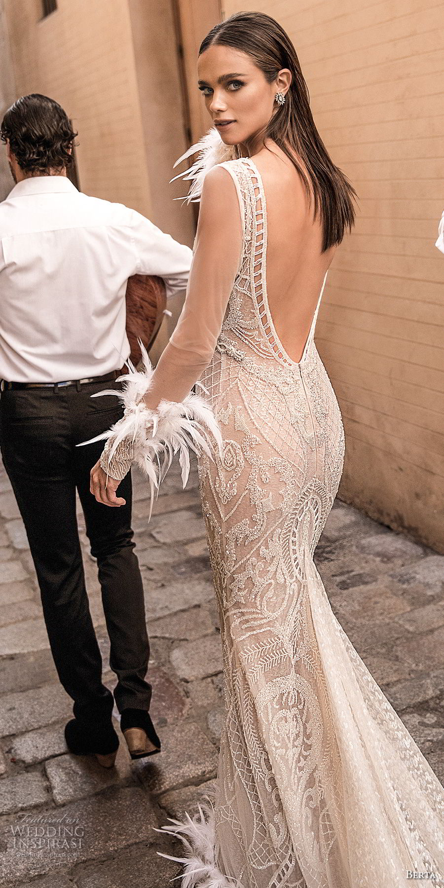berta fall 2018 bridal long sleeves deep v neck full embellishment elegant glamorous sheath wedding dress open v back chapel train (24) bv