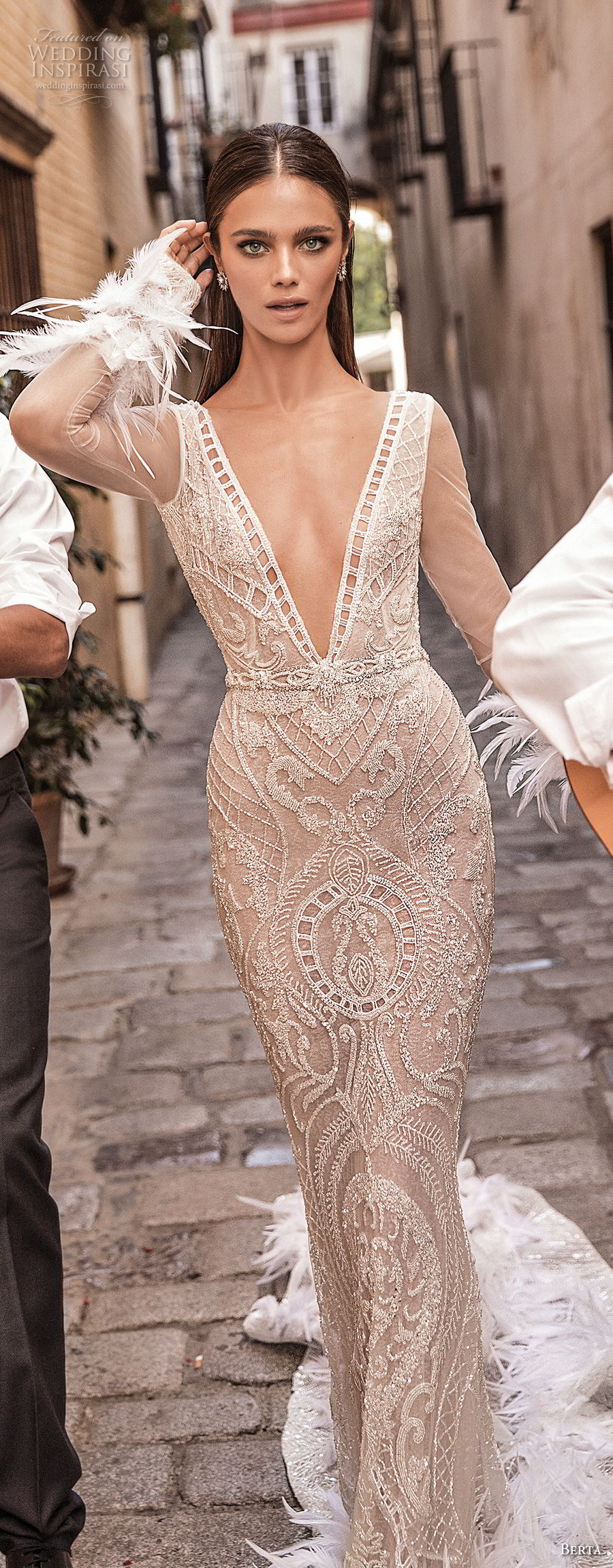 berta fall 2018 bridal long sleeves deep v neck full embellishment elegant glamorous sheath wedding dress open v back chapel train (24) mv