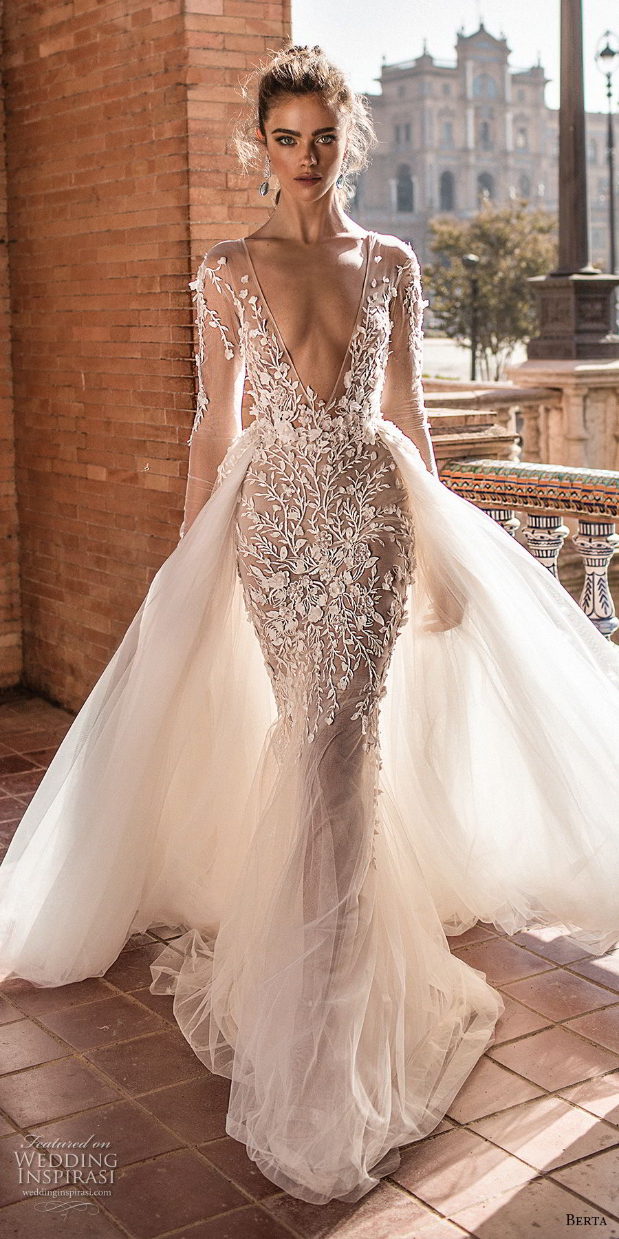 berta fall 2018 bridal long sleeves deep v neck heavily embellished bodice sexy romantic fit and flare mermaid wedding dress a  line overskirt open scoop back chapel train (1) mv