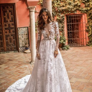 berta fall 2018 bridal long sleeves illusion bateau deep v neck heaily embellished bodice romantic sexy a  line wedding dress chapel train (26) mv