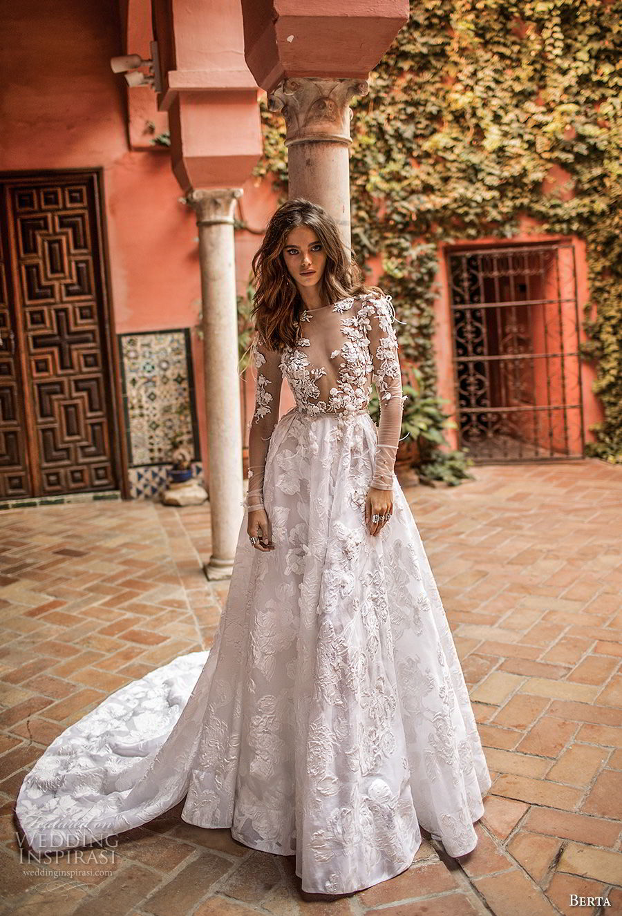 berta fall 2018 bridal long sleeves illusion bateau deep v neck heaily embellished bodice romantic sexy a  line wedding dress chapel train (26) mv