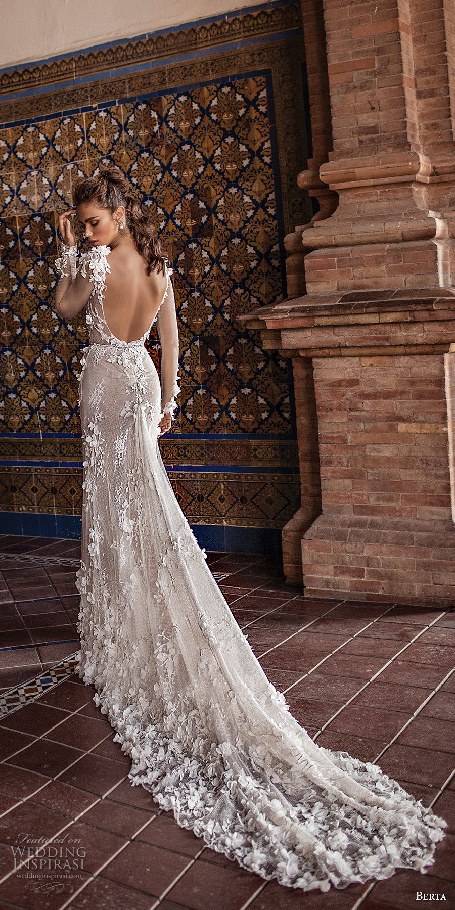 berta fall 2018 bridal long sleeves illusion bateau sweetheart neckline full embellishment elegant romantic fit and flare sheath wedding dress open scoop back chapel train (23) bv