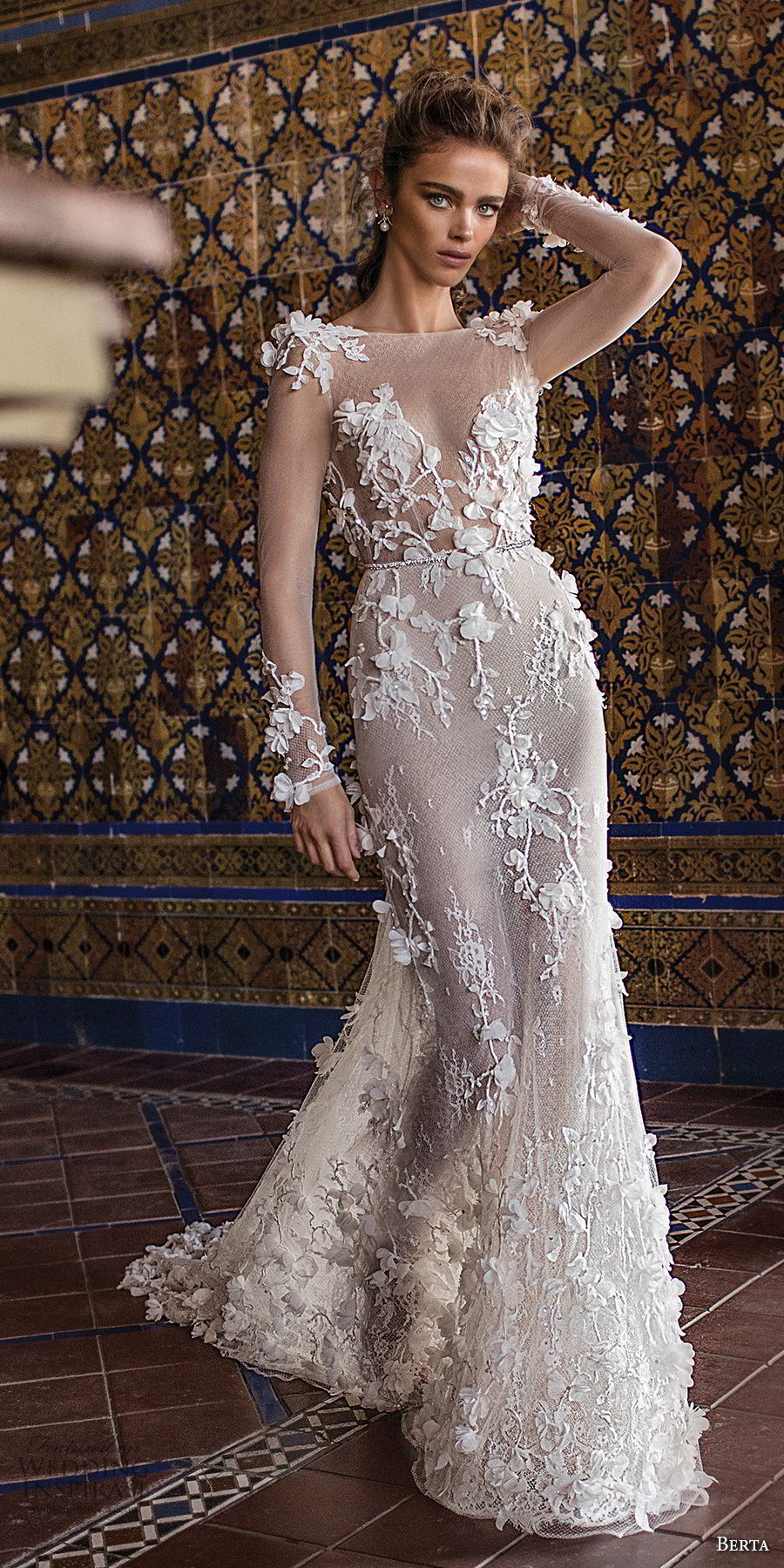 berta fall 2018 bridal long sleeves illusion bateau sweetheart neckline full embellishment elegant romantic fit and flare sheath wedding dress open scoop back chapel train (23) mv
