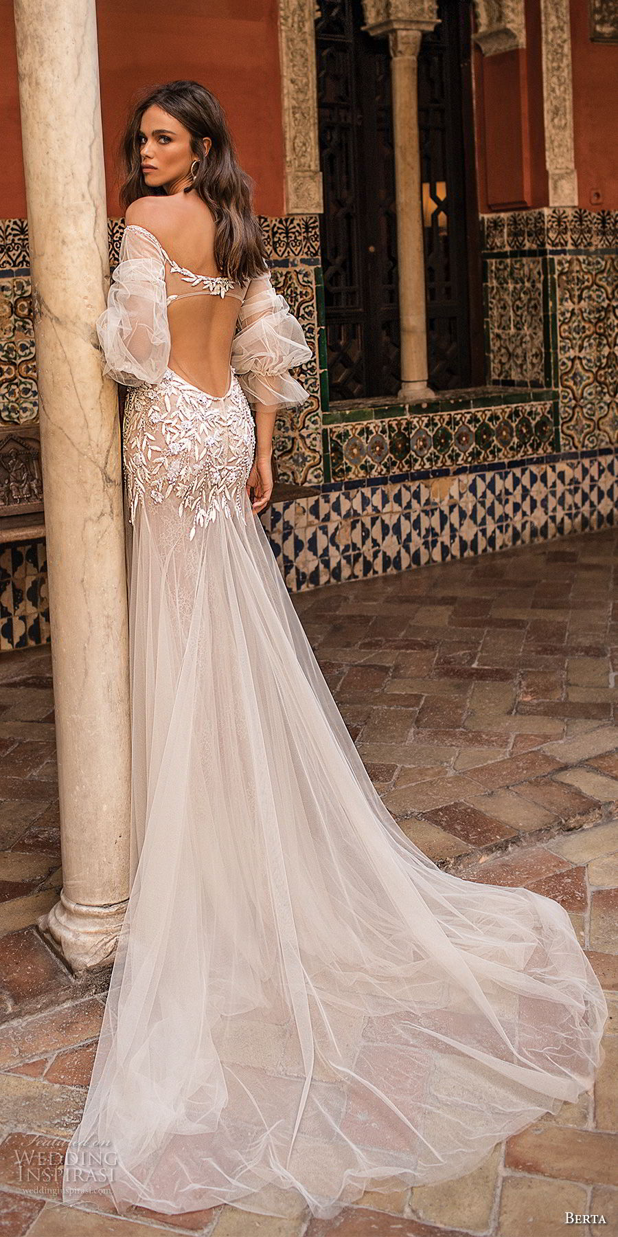 berta fall 2018 bridal off the shoulder illusion straight across v neck heavily embellished bodice drop waist a  line wedding dress low sheer back chapel train (6) bv