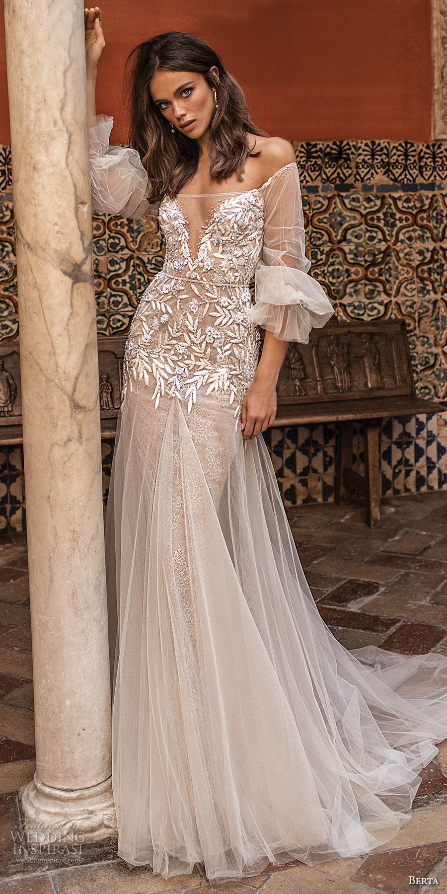 berta fall 2018 bridal off the shoulder illusion straight across v neck heavily embellished bodice drop waist a  line wedding dress low sheer back chapel train (6) mv
