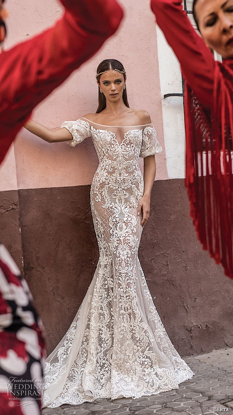 berta fall 2018 bridal off the shoulder short sleeves sweetheart neckline full embellishment elegant romantic mermaid wedding dress sheer button back chapel train (17) mv