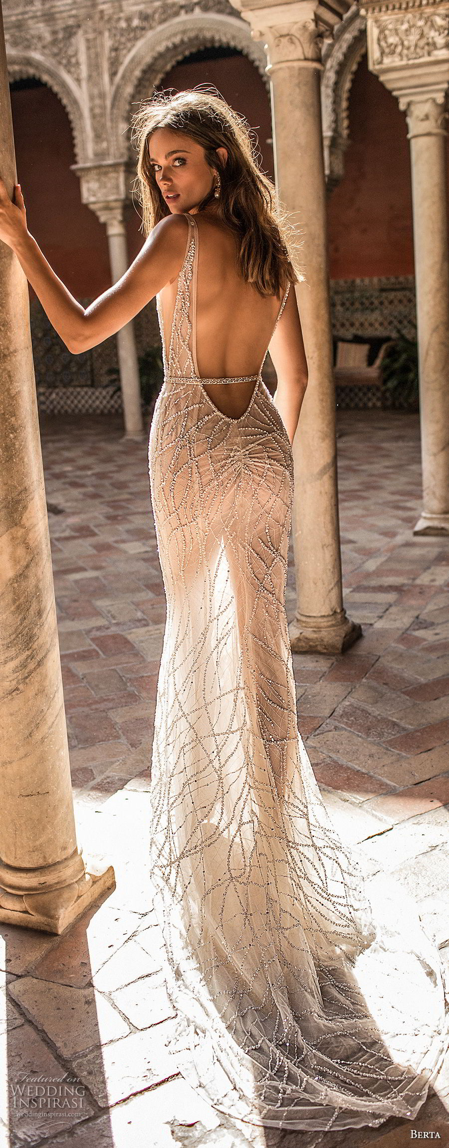 berta fall 2018 bridal sleeveless deep v neck full beaded embellishment elegant glamorous sheath wedding dress low open back sweep train (13) bv