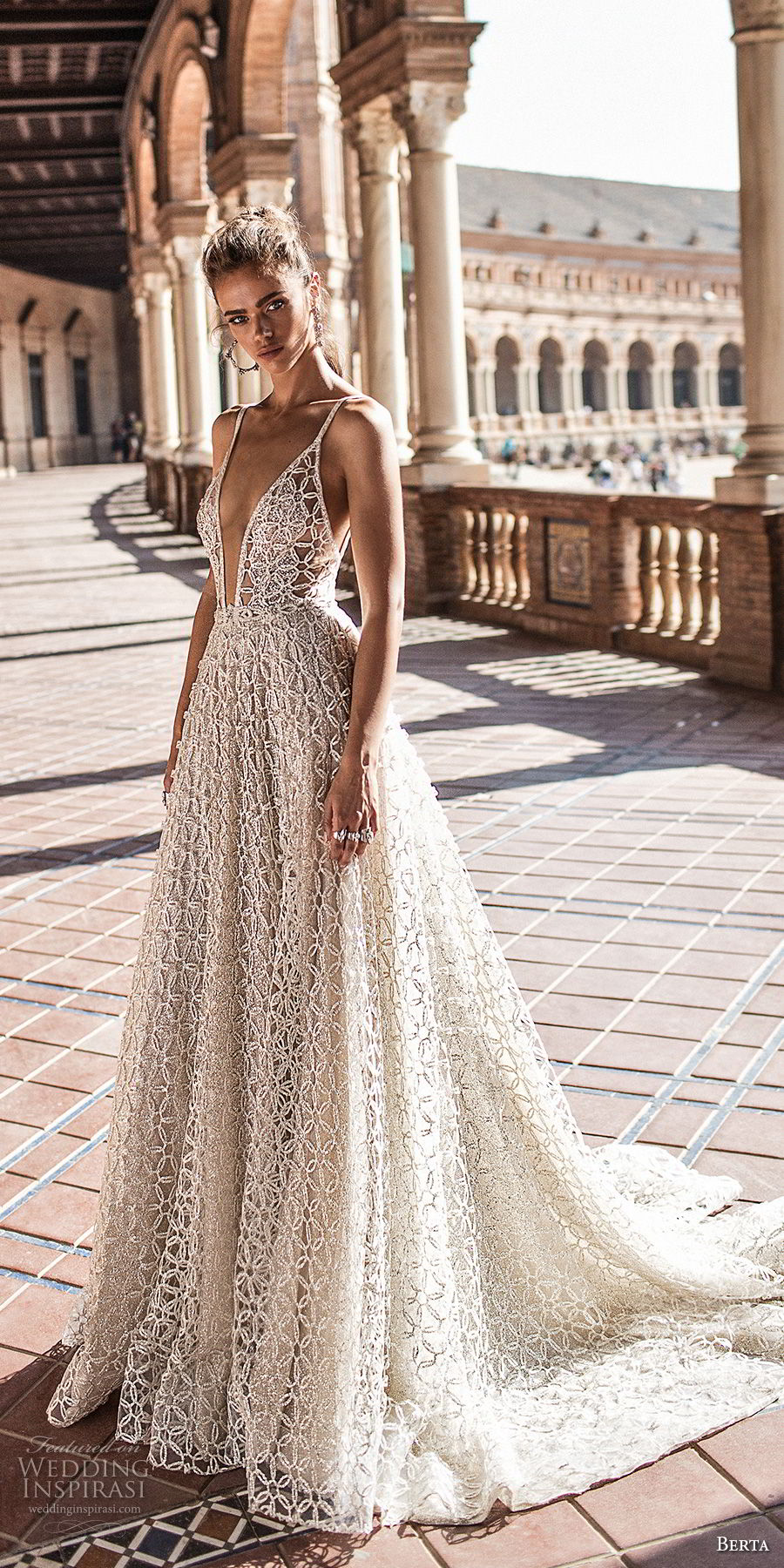 berta fall 2018 bridal sleeveless spaghetti strap deep plunging v neck full embellishment romantic sexy a  line wedding dress open back chapel train (4) mv