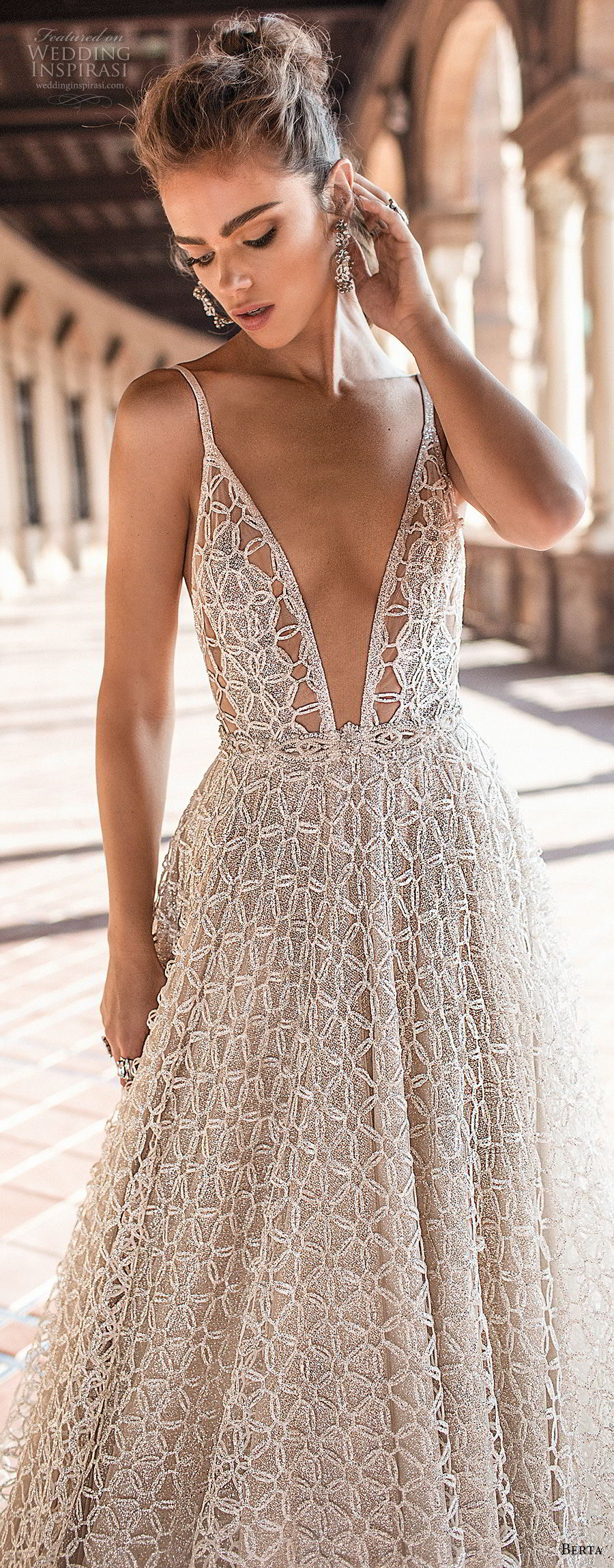berta fall 2018 bridal sleeveless spaghetti strap deep plunging v neck full embellishment romantic sexy a  line wedding dress open back chapel train (4) zv